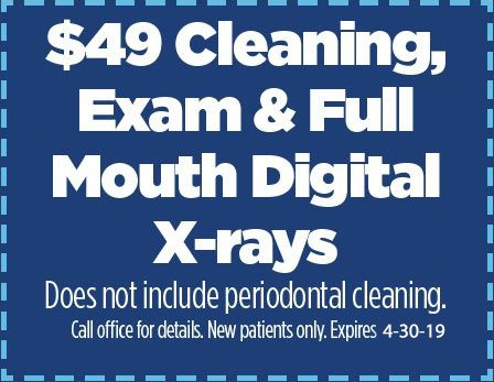 special offer $49 cleaning and xrays
